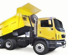 a big yellow dump truck isolated on white